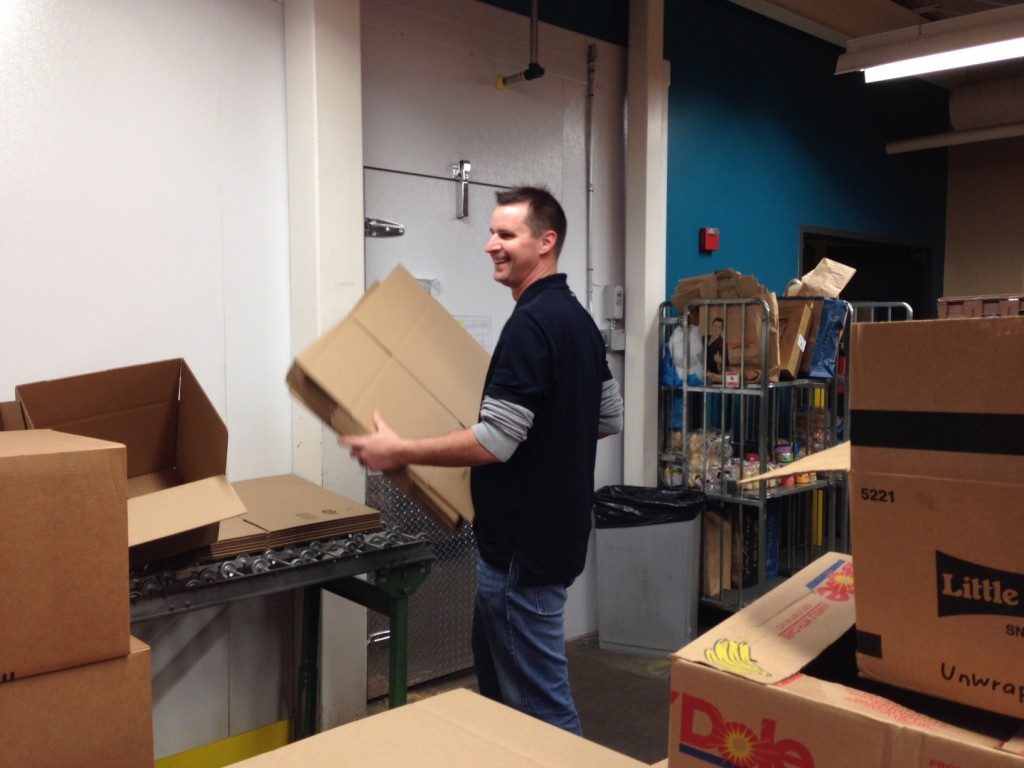 Second Harvest Volunteering making boxes